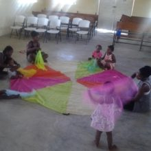 Vanessa Perrin, RD Endorsed Practitioner, leading a group in Haiti